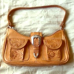 American West Hand tooled leather bag